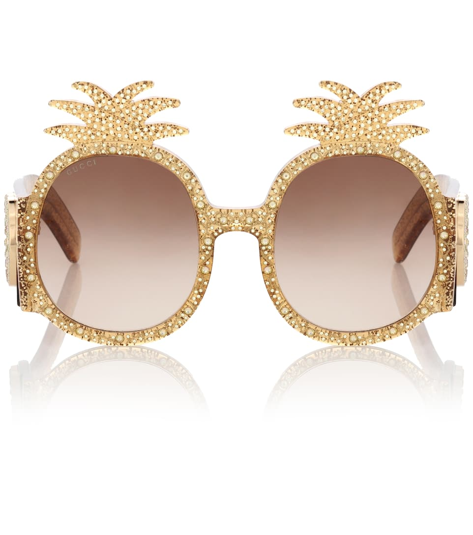 Pineapple Gg0150S 001 Gold Glitter Fashion Sunglasses