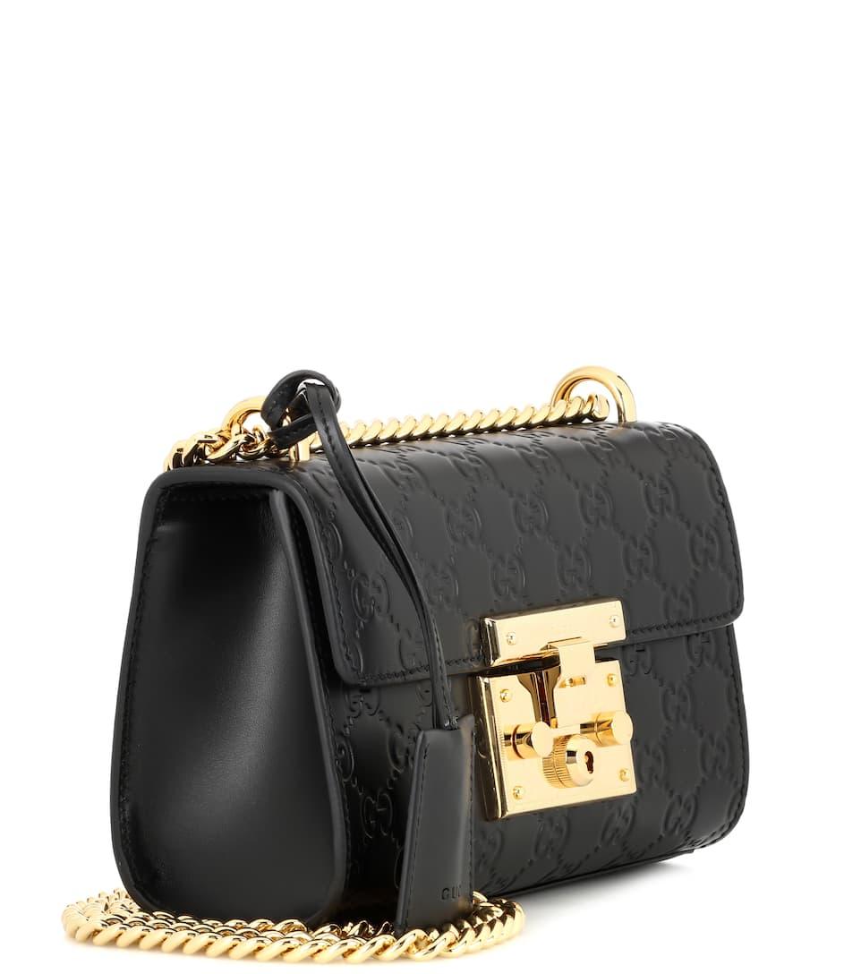 Small Padlock Signature Leather Shoulder Bag Gucci