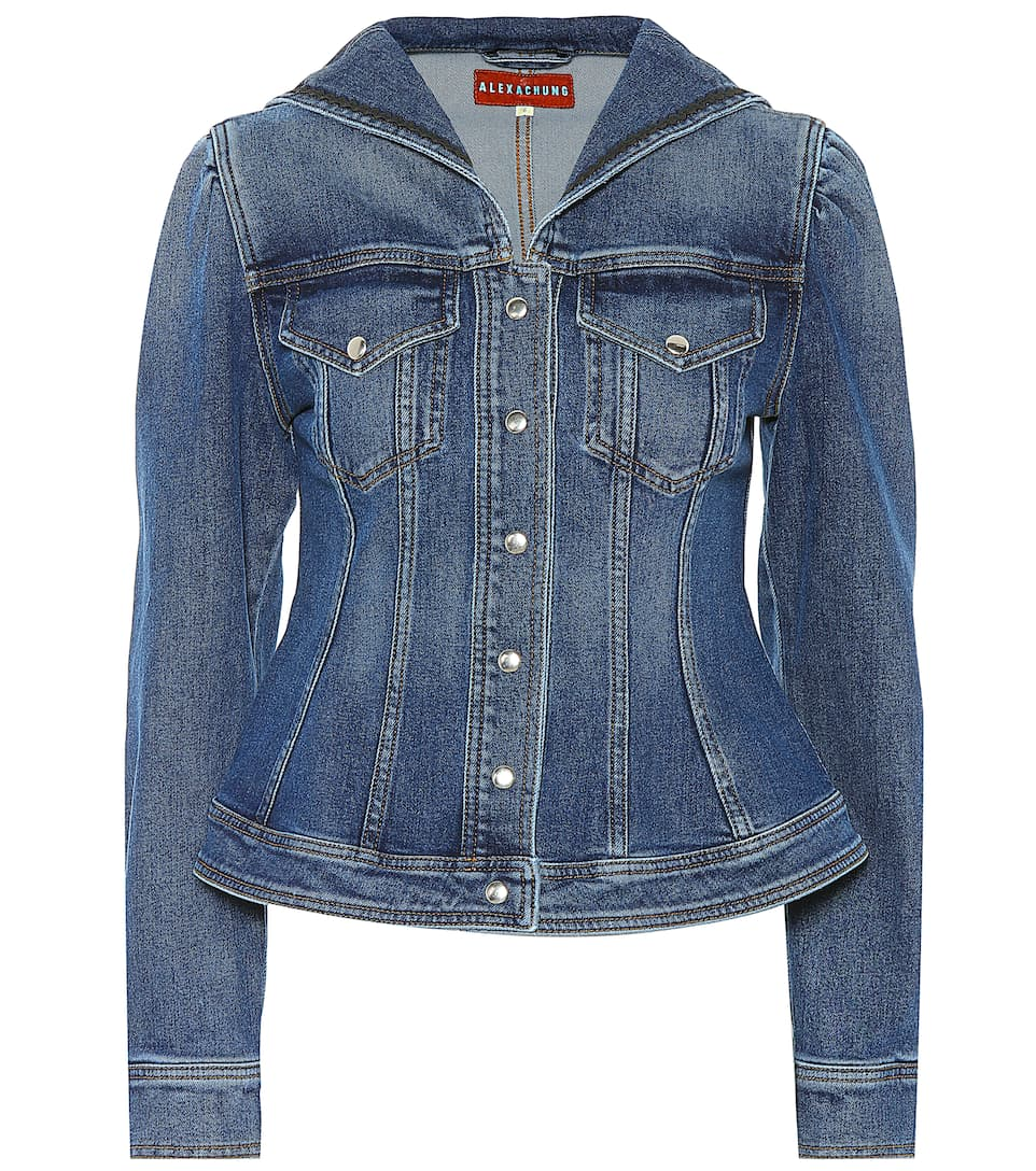 seamed denim sailor jacket alexachung mytheresa. Black Bedroom Furniture Sets. Home Design Ideas