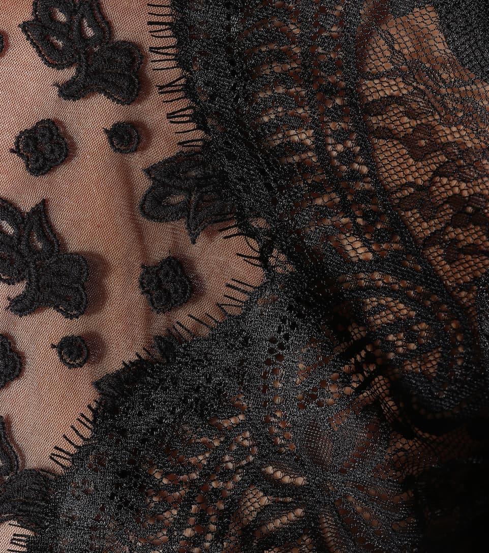Autorretrato encaje festoneado negro de top naUOqUfw8z