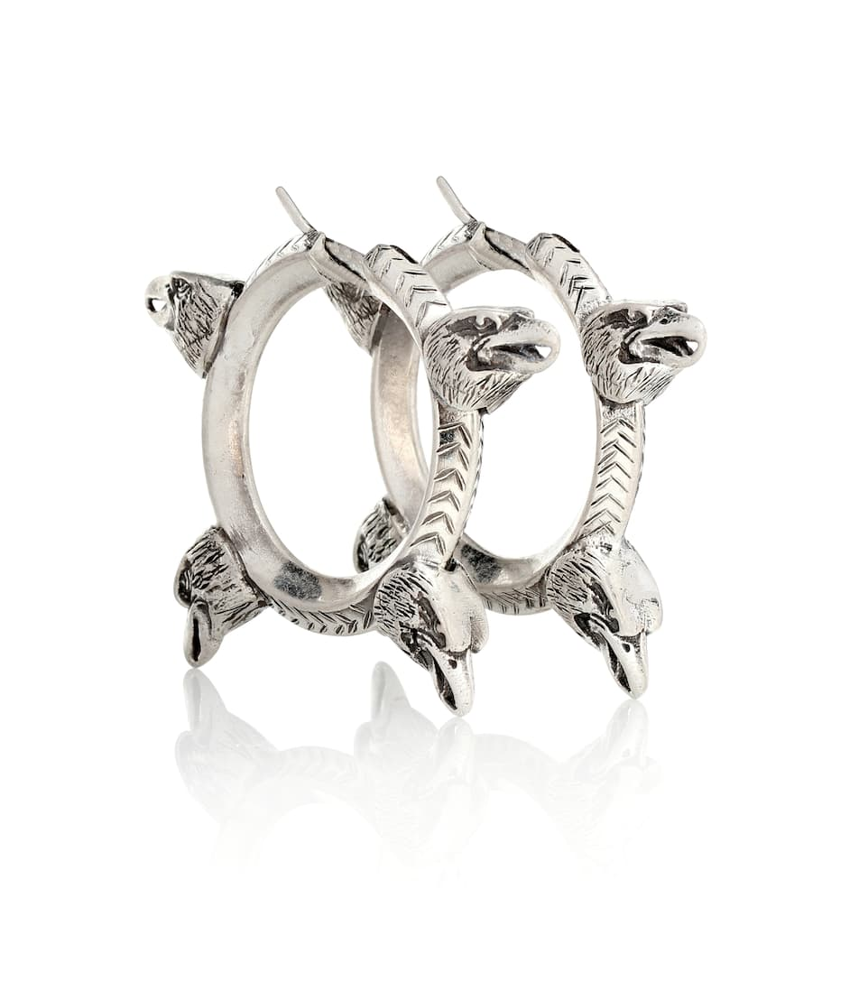 574bdc3e9 Anger Forest Sterling Silver Hoop Earrings - Gucci | mytheresa