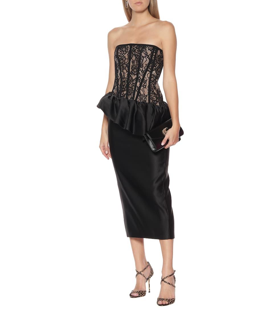 RASARIO - Lace and satin midi dress