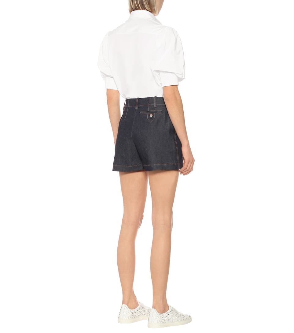 High-Rise Denim Shorts | Alaïa - Mytheresa