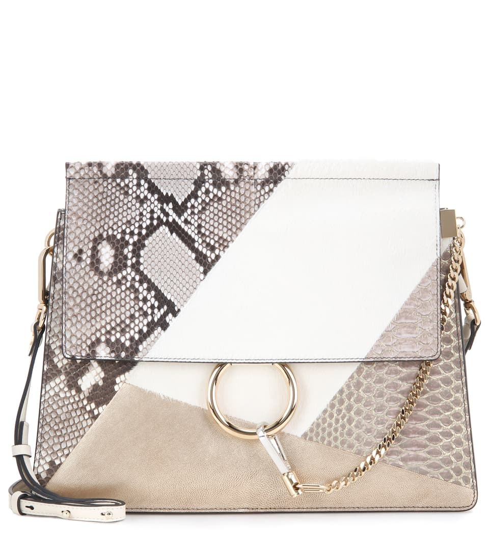 Chloé Faye metallic leather, snakeskin and calf hair shoulder bag