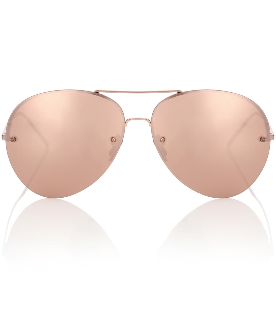 bc9d7f3db7c Rose Gold-Plated Aviator Sunglasses - Linda Farrow