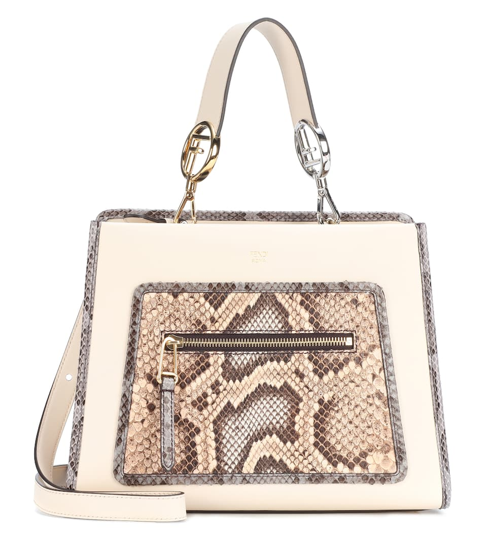 Fendi Tote Runaway Small Of Leather And Snakeskin