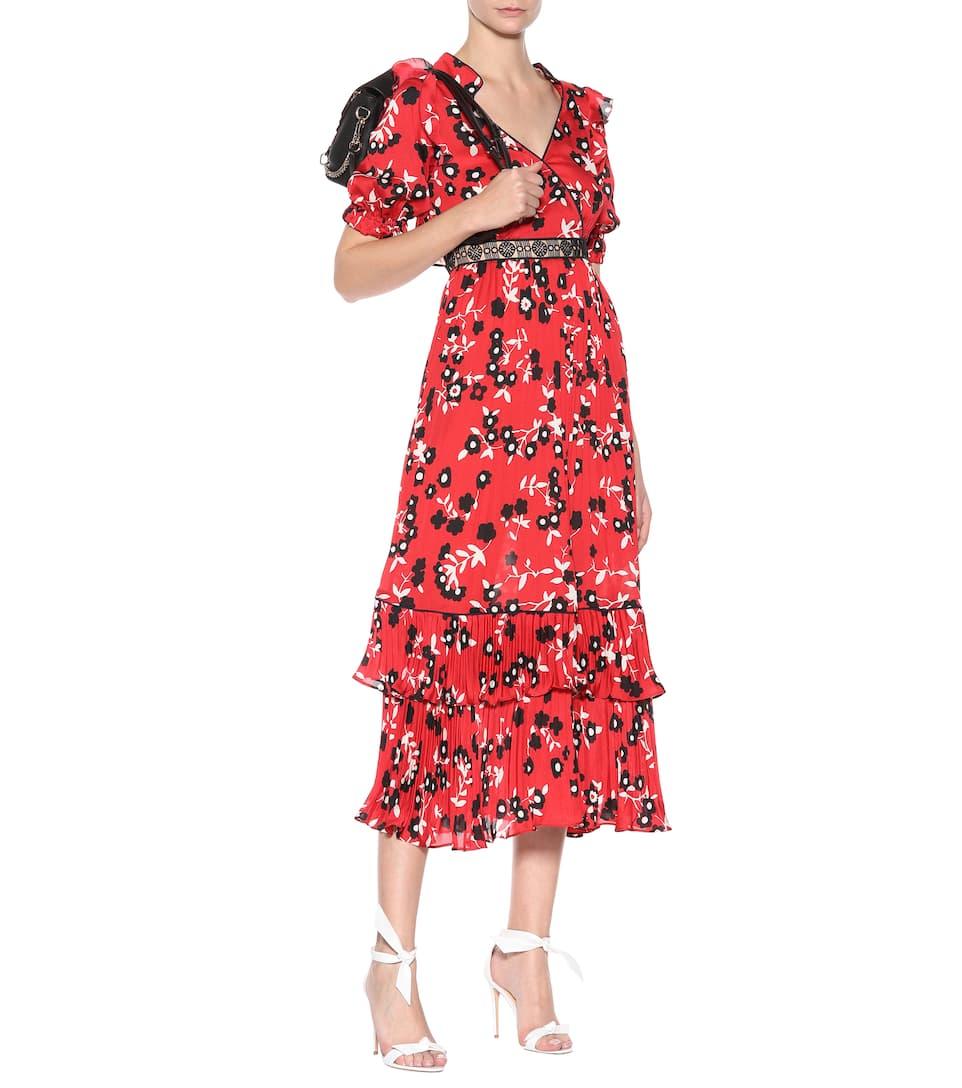 Self-portrait Printed Midi Dress With Lace