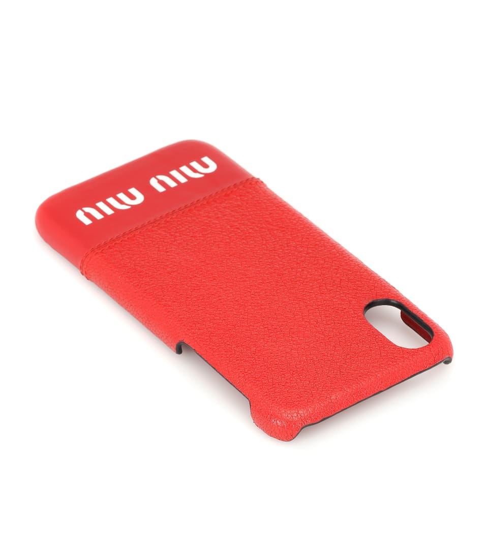 Style De Mode Rabais Miu Miu - Coque pour iPhone X en cuir Vente 100% D'origine Obtenir Authentique Prix Pas Cher X2PhKa3Q