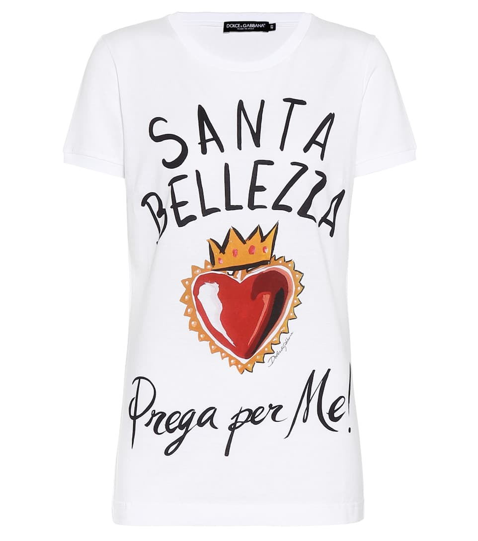 Bianco Santa estampado amp; algodón Gabbana Dolce amp; de camiseta Bellezza HpwPf4Uq