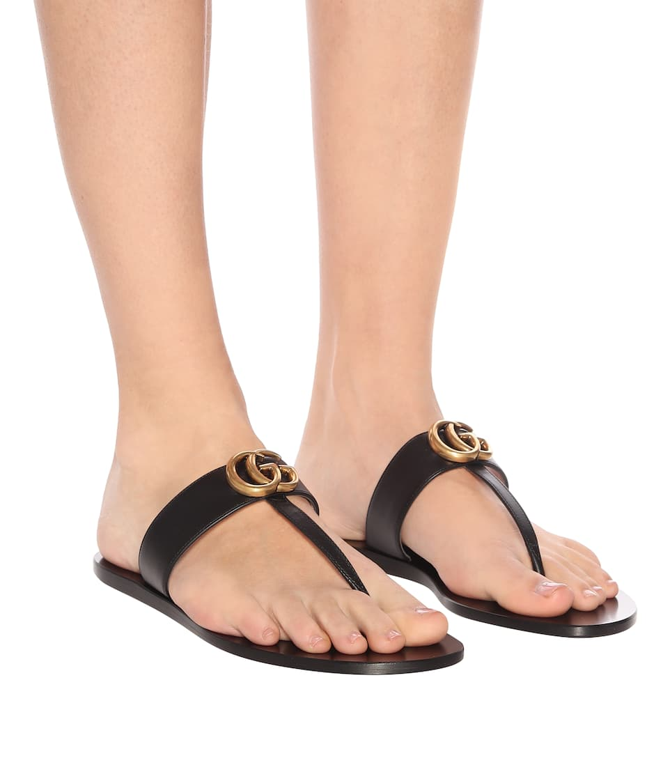 2f122aef288 Double G Leather Sandals - Gucci