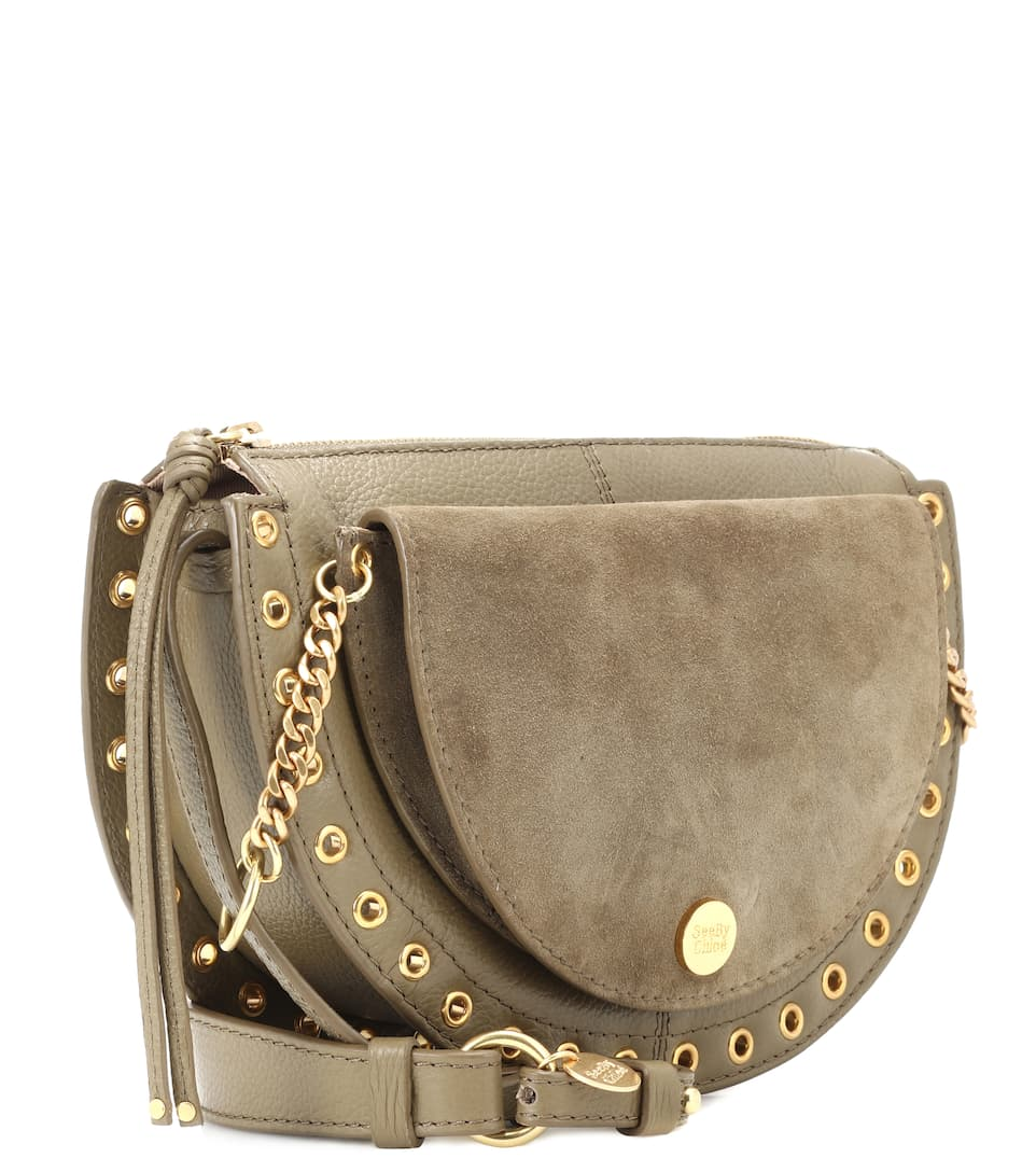 Sac cross-body en cuir et daim Kriss Medium yaVvpNtnz