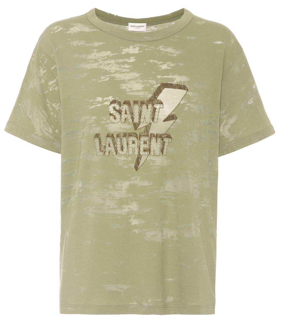 Printed Dévoré Jersey T Shirt by Saint Laurent