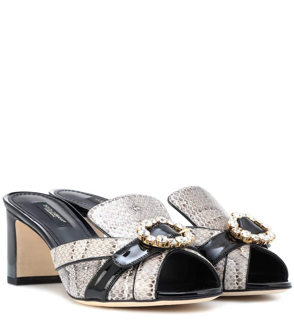 709e8a70d Dolce & Gabbana - Snakeskin and leather mules | Mytheresa