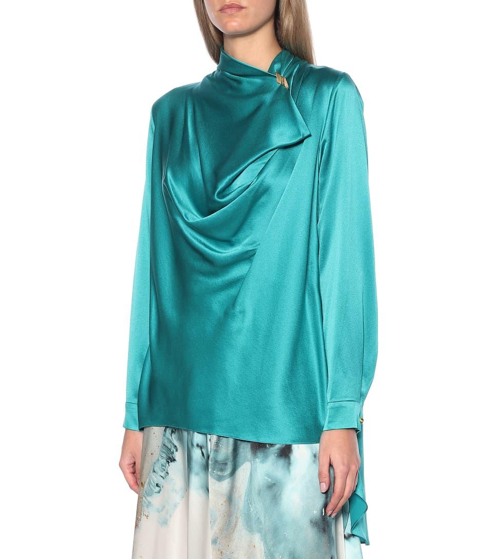 Roksanda - Limela draped silk-satin top