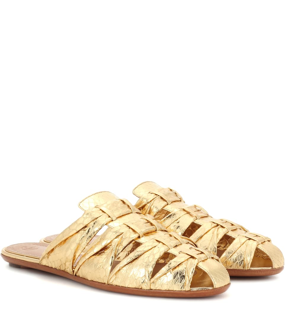 The Row Capri metallic snakeskin slippers Gold Buy Cheap Find Great Outlet Extremely Discount Online Sale Looking For hTSjFpW