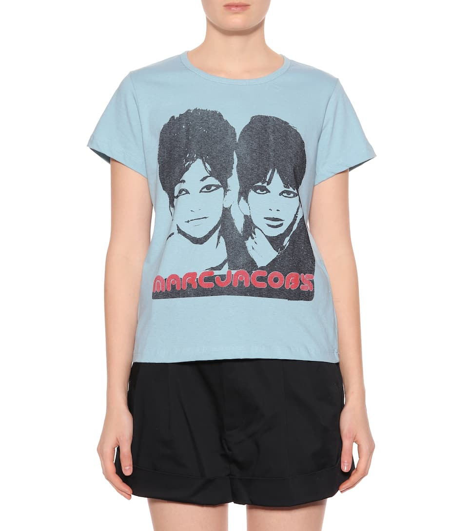 Free Shipping Visa Payment Cheapest Cheap Online Marc Jacobs Printed cotton T-shirt Light Blue 1c2jF