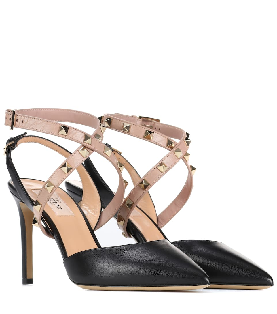 2cd4b542e30 Valentino Garavani Rockstud Leather Slingback Pumps - Valentino ...
