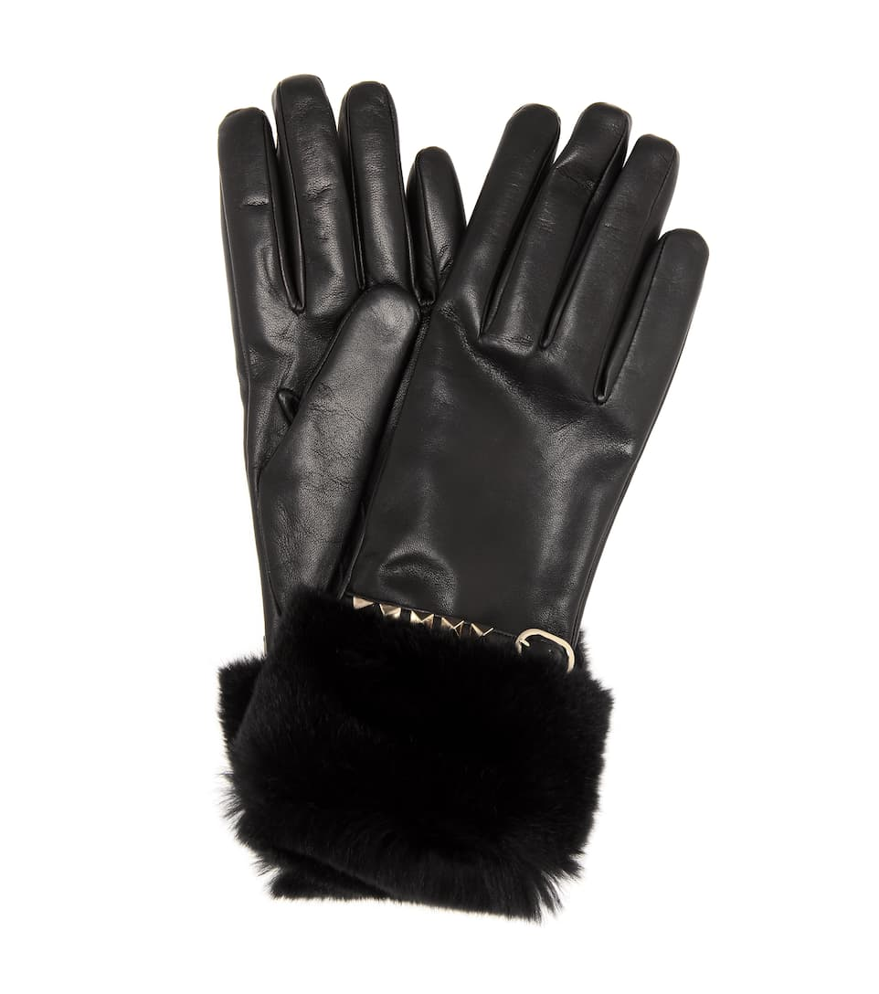 Valentino Garavani Fur Trimmed Leather Gloves by Valentino Garavani