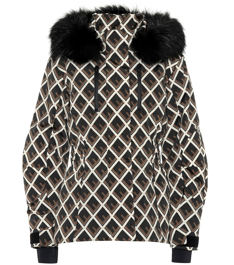 e513725250 Printed fur-trimmed ski jacket. Fendi