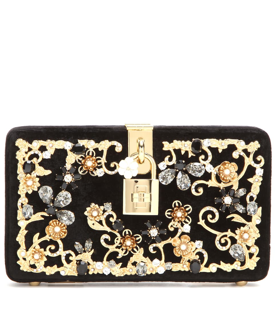 Dolce & Gabbana Dolce embellished velvet box clutch