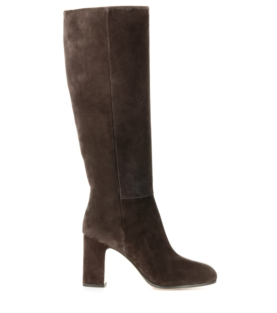 miu miu suede knee high boots in elaeo modesens