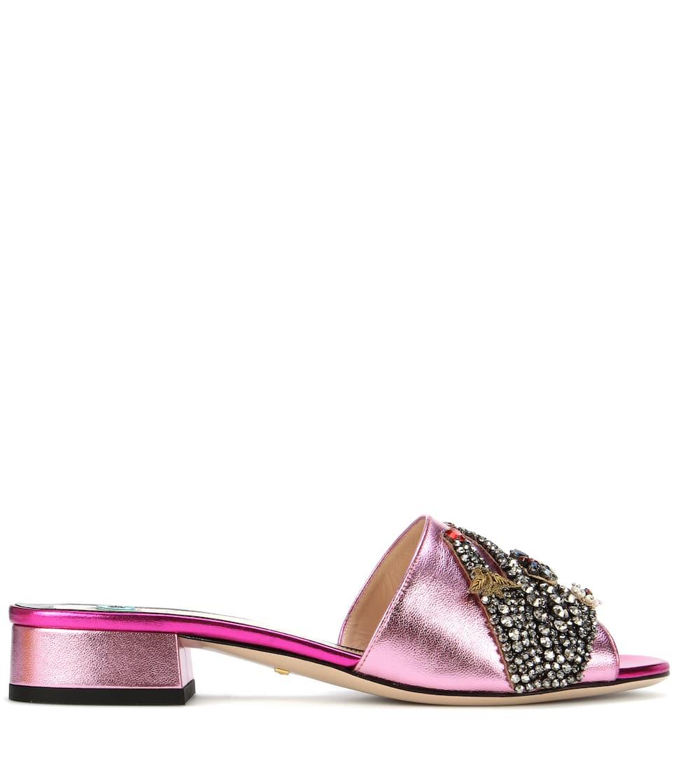 Gucci Verzierte Sandalen aus Metallic-Leder Rabatt Wiki Günstig Kaufen Authentisch Verkauf Wirklich Günstig Kaufen Modisch iKcIBT