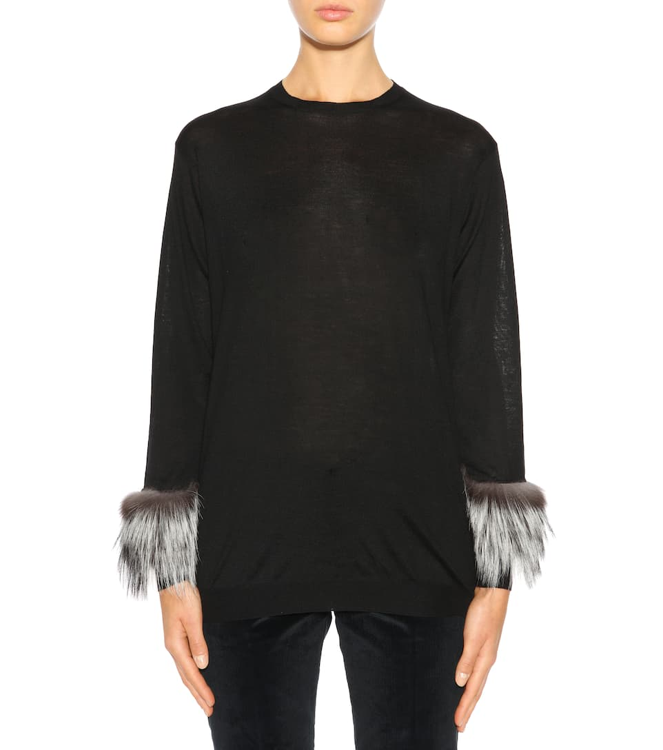 Prada Wollpullover mit Pelzbesatz