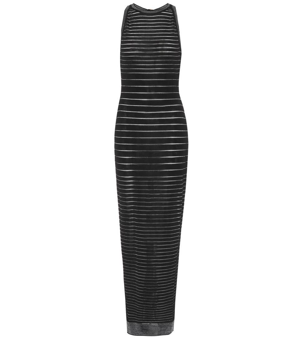 Balmain Knits Metallic striped knit maxi dress