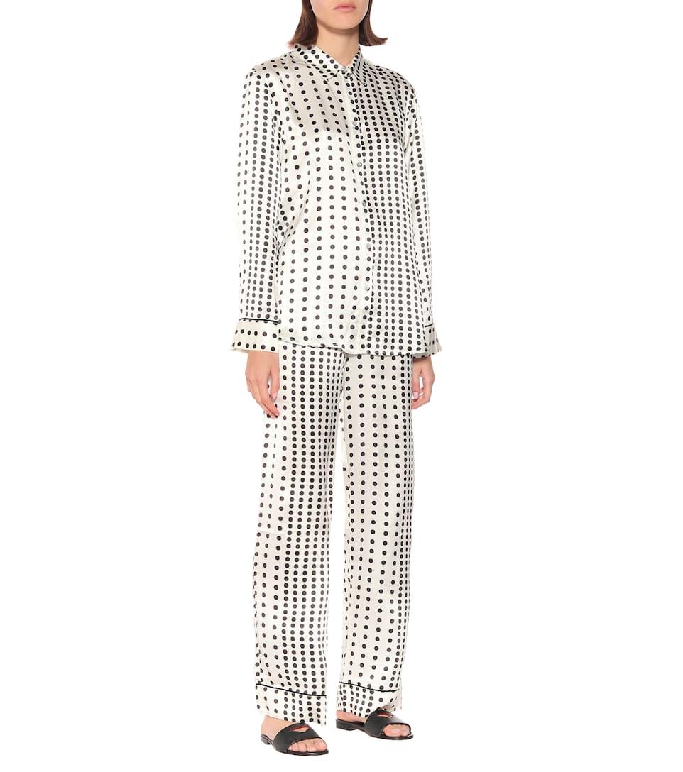 De Pyjama Asceno En Soie À Pois Pantalon BedxrCo