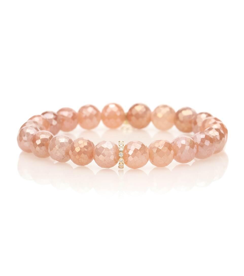 Ct 14 Et De Sydney Pierres Bracelet En LuneOr Diamants Evan WDY29HEI