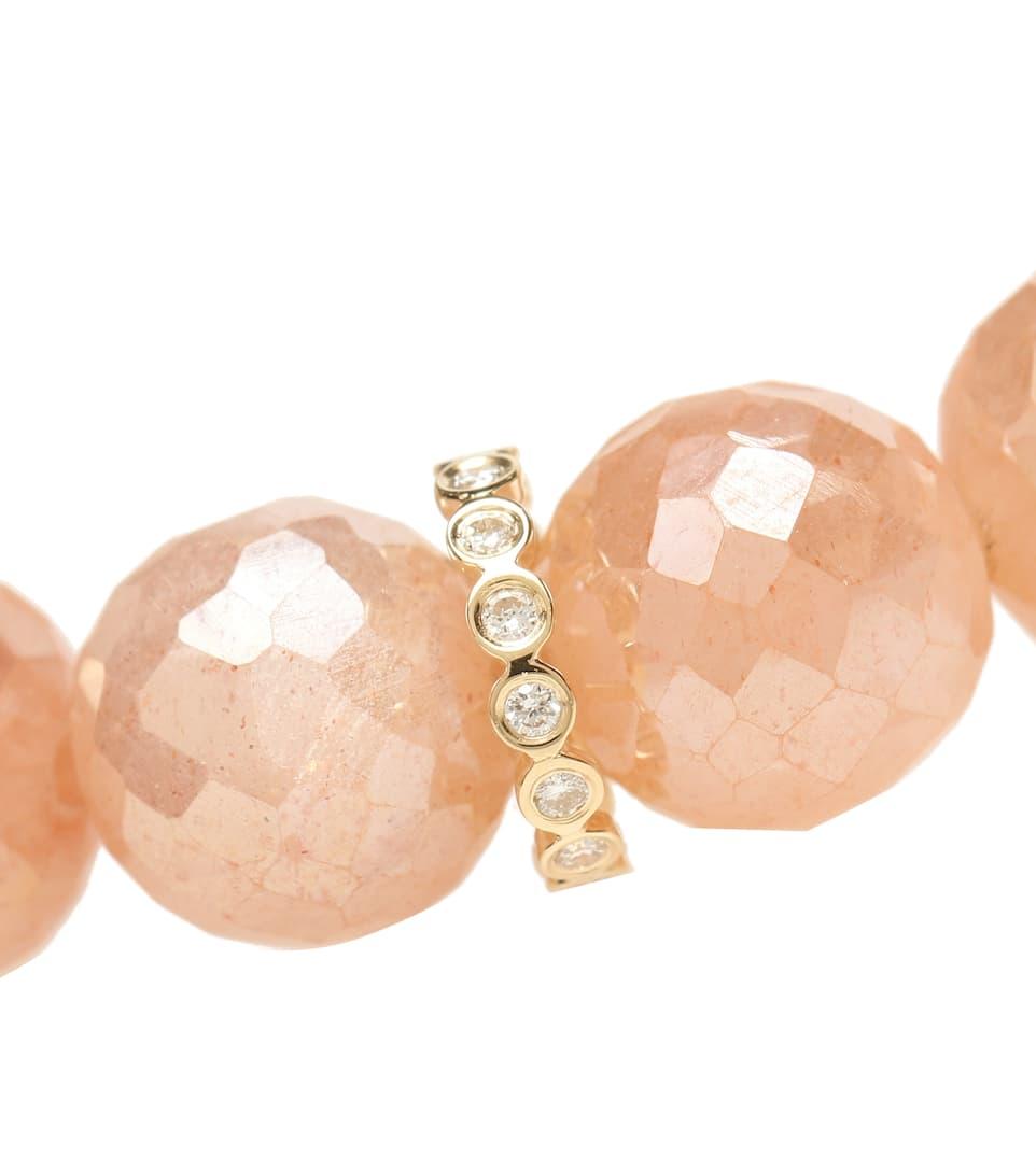 Bracciale In Oro Giallo 14Kt Con Pietre Di Luna E Diamanti - Sydney Evan   Mytheresa JRjlMiZZ