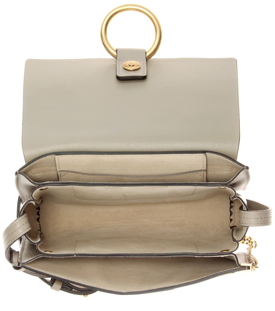 chloe faye embellished suede and leather shoulder bag