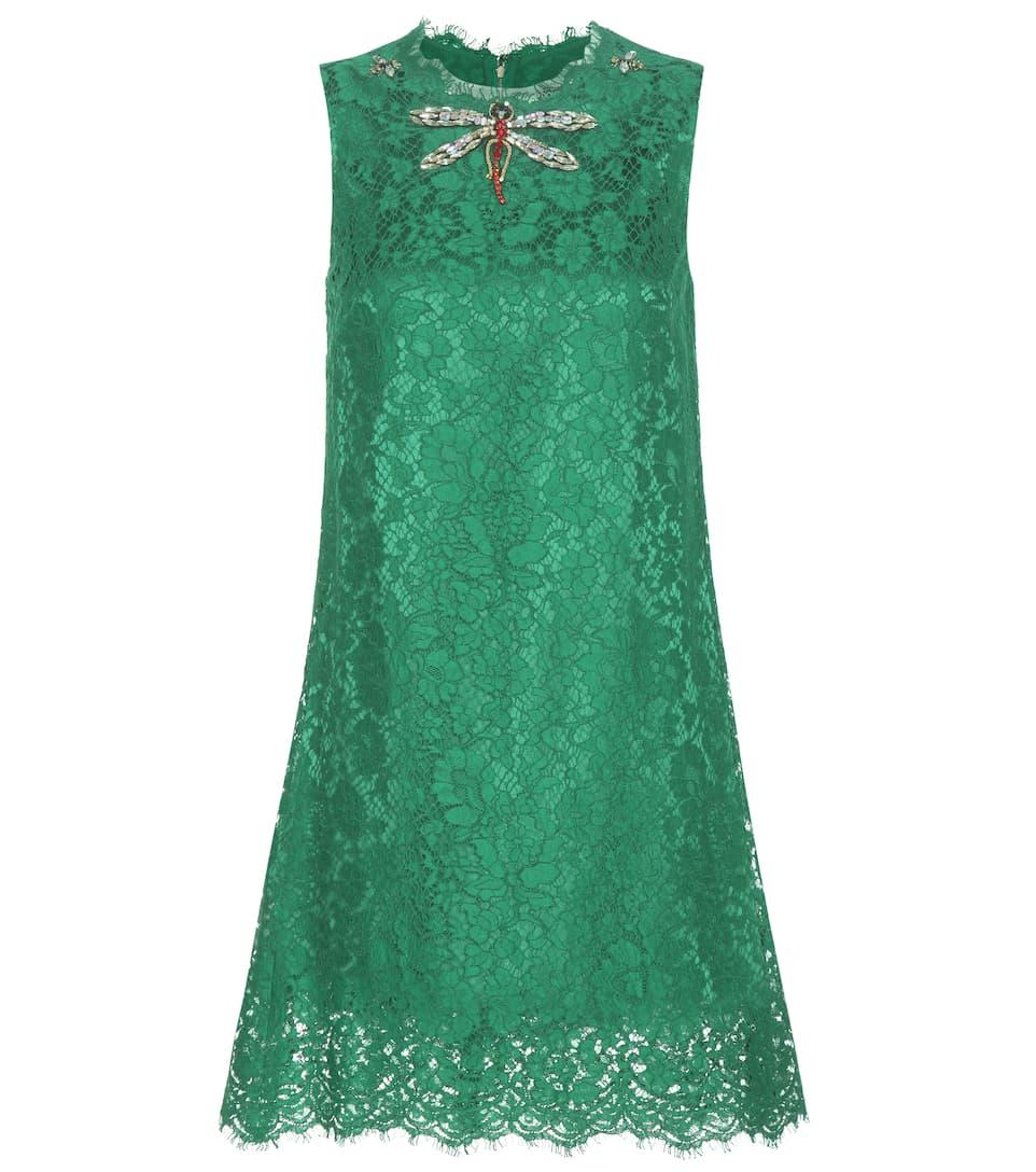 Dolce & Gabbana Embellished cotton-blend lace mini dress