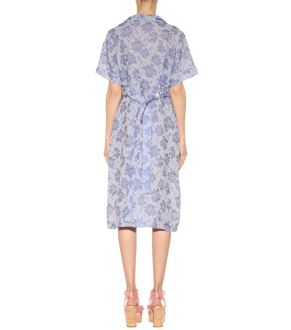 MIU MIU FLORAL-EMBELLISHED CLOQUE DAY DRESS, LIGHT BLUE