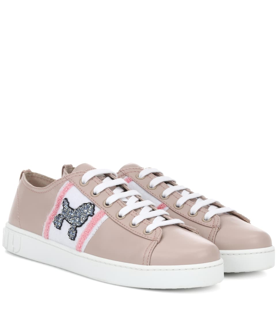 Exclusive to mytheresa.com - embellished leather sneakers Miu Miu Outlet Exclusive Clearance Wide Range Of Latest XqqRq2j