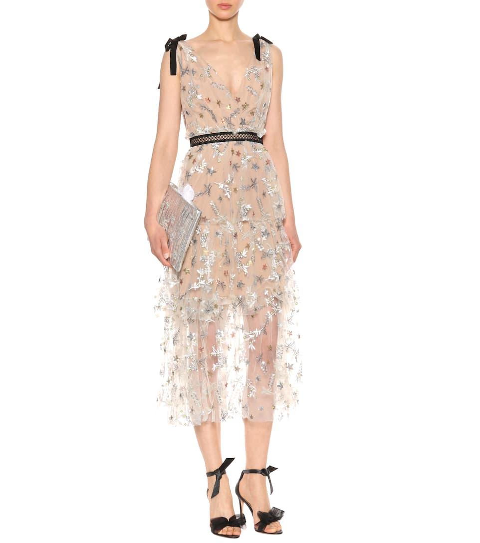 Self-Portrait Verziertes Kleid Star mit Spitze Günstig Kaufen Mit Kreditkarte bnQqZLH0l