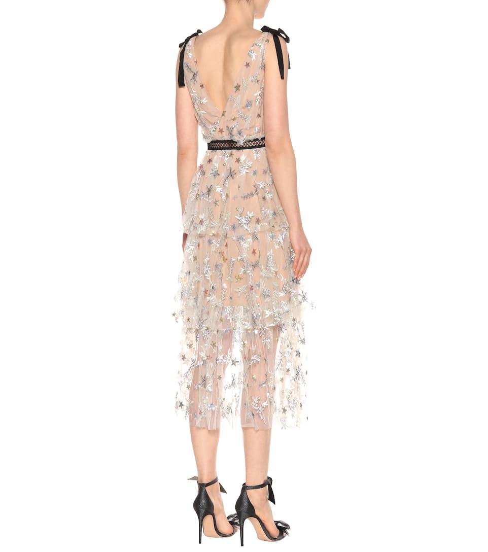 Self-Portrait Verziertes Kleid Star mit Spitze