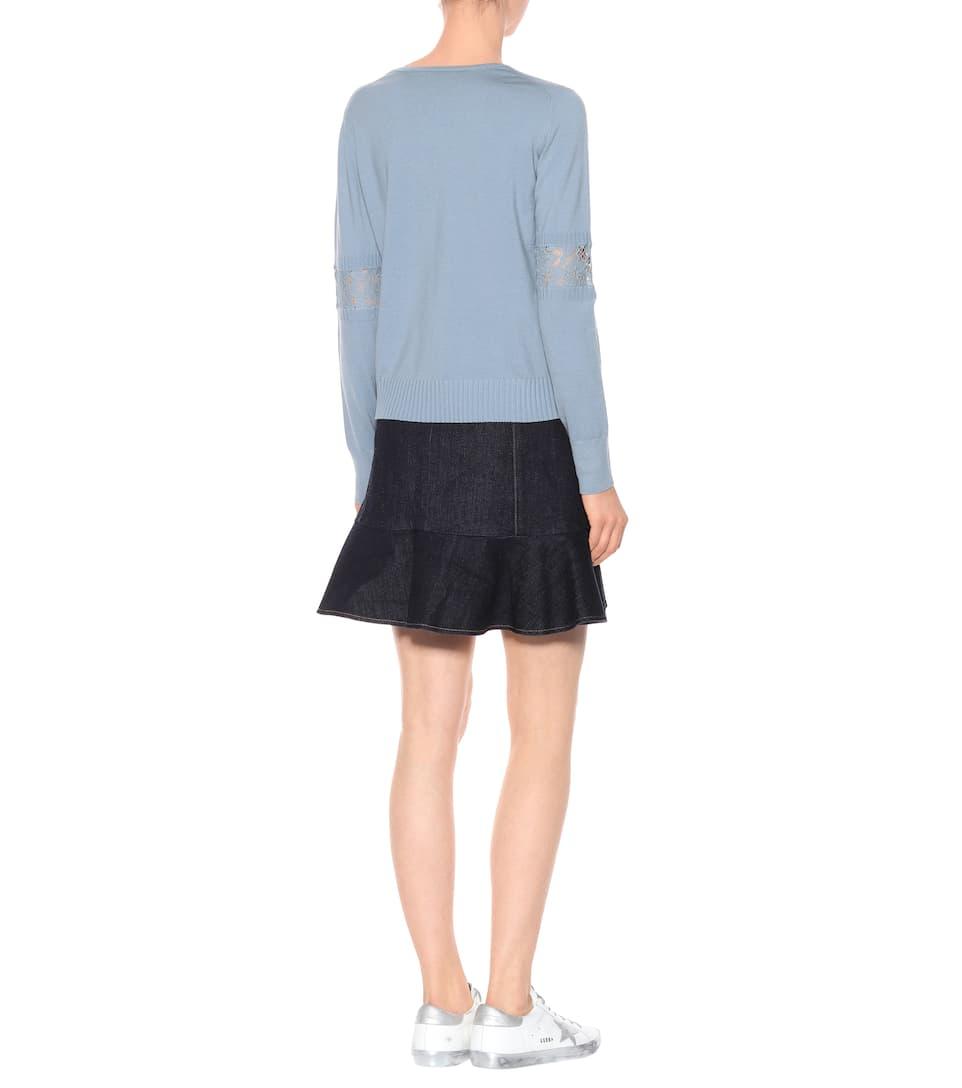 Dorothee mezcla de Schumacher con Dove lana Embrace Lace Blue Suéter aFwq1xIn55