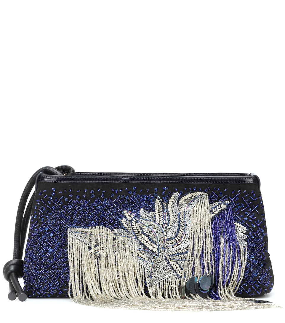 Dries Canvas E Ricami Clutch Noten In Van Pelle Con AjL5q3R4