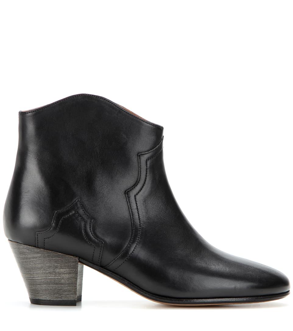 isabel marant etoile 50mm dicker leather ankle boots black modesens. Black Bedroom Furniture Sets. Home Design Ideas