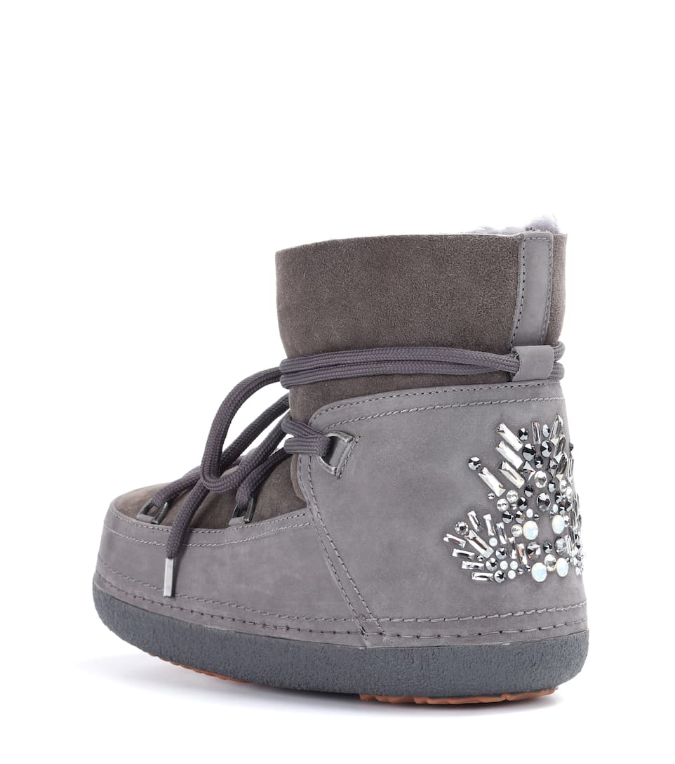 Crystal-embellished suede ankle boots INUIKII ivHH0e