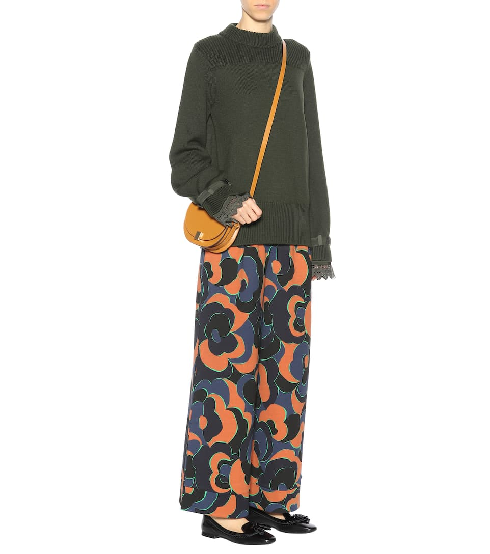 con encaje Suéter caqui adornado de color lana Moncler PvpIPq
