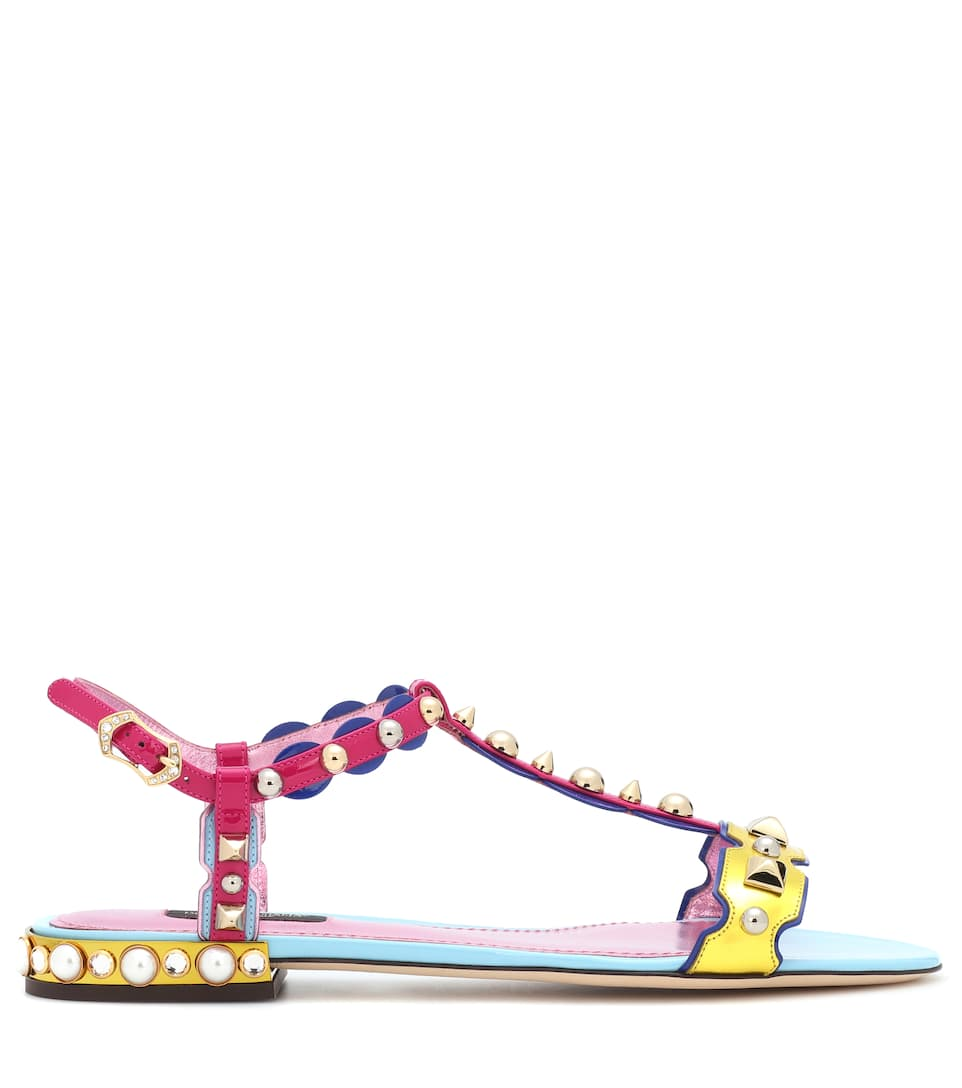 Dolce & Gabbana Verzierte Sandalen aus Lackleder