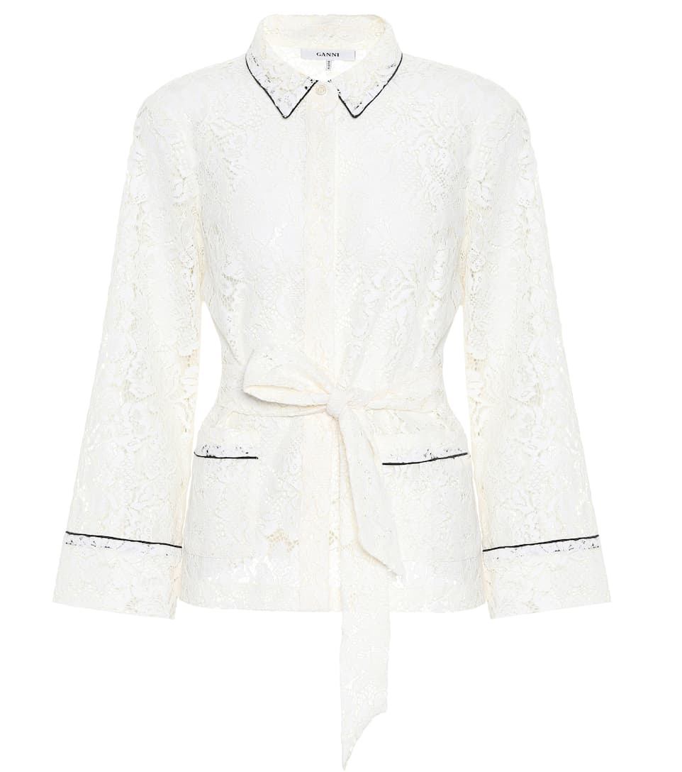 Lace Belted Shirt, White