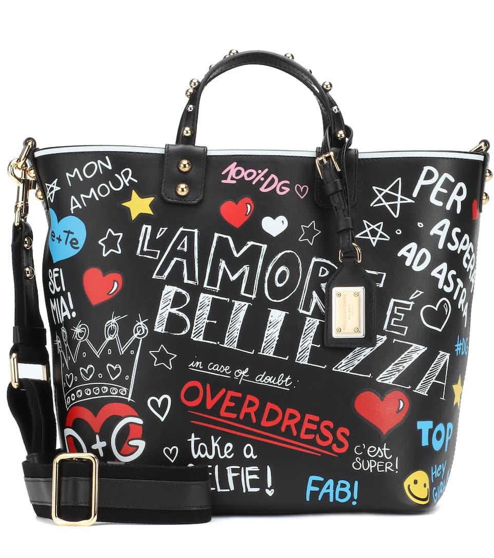 amp; Dolce estampado bolso amp; Gabbana Beatrice Murales de Nero cuero vPPCwHdxq