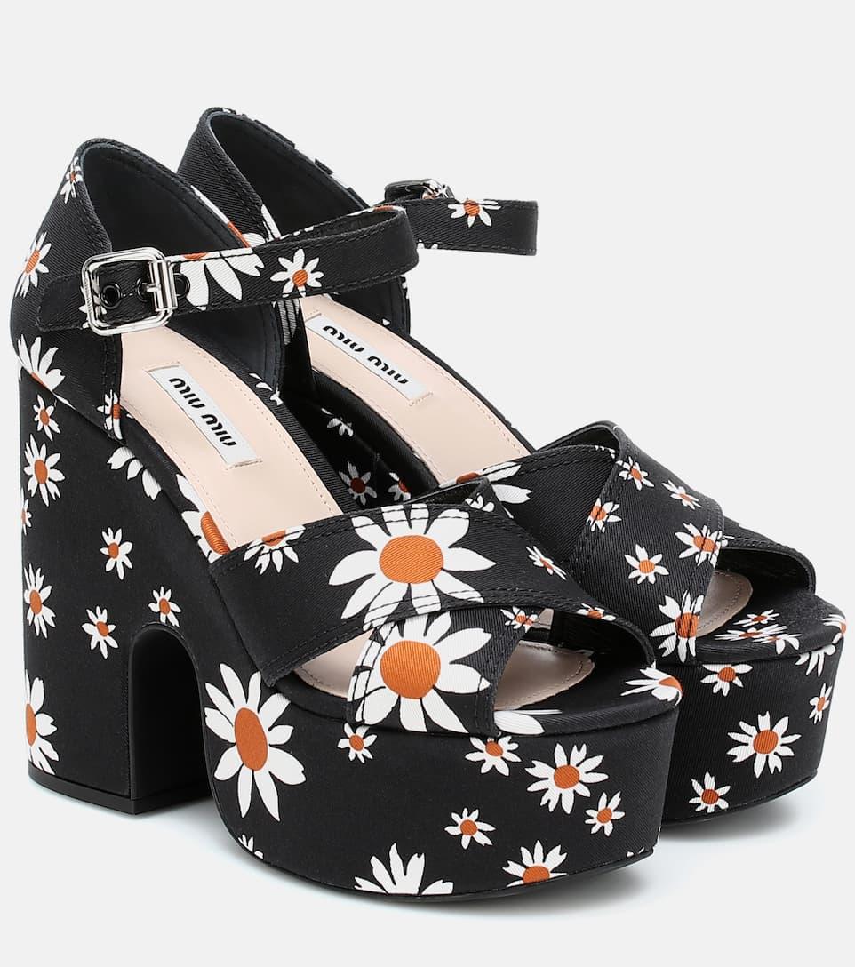 Daisy Gabardine Platform Sandals   Miu