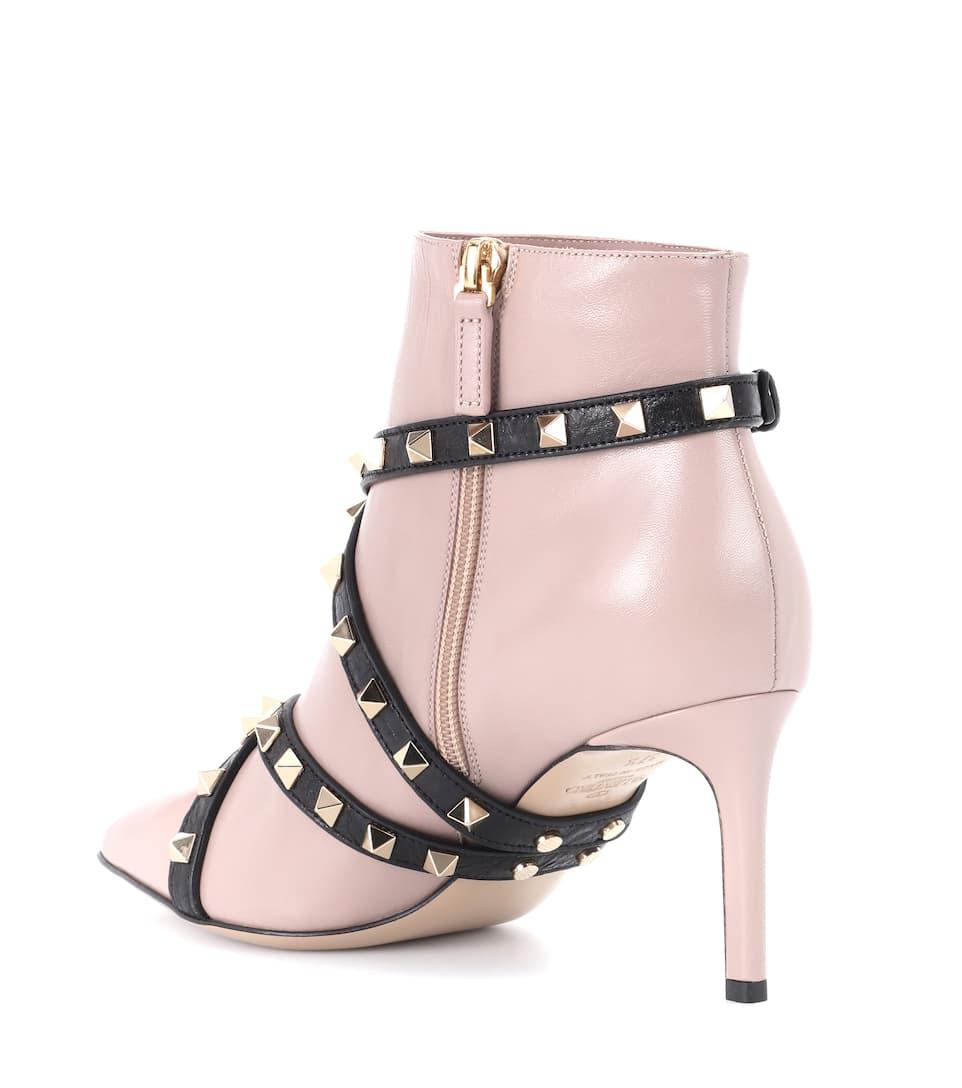 6212352c573e Valentino Garavani Studwrap Leather Ankle Boots - Valentino ...