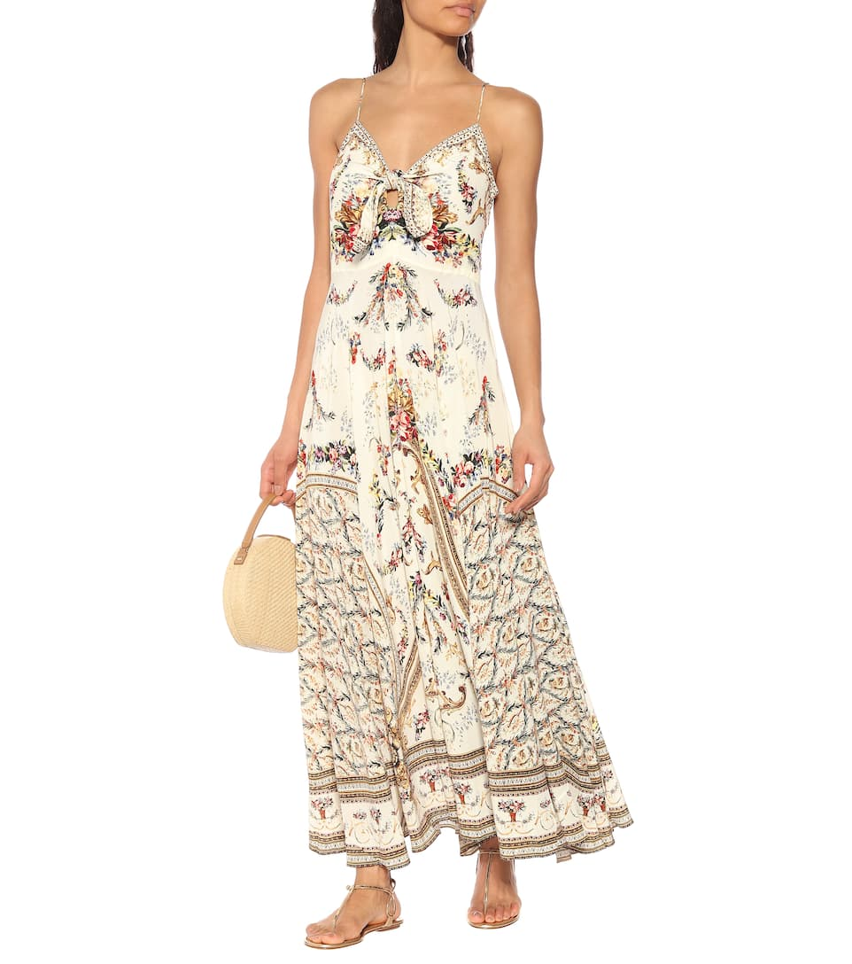 5f88c05403e272 Camilla - Embellished printed silk dress | Mytheresa
