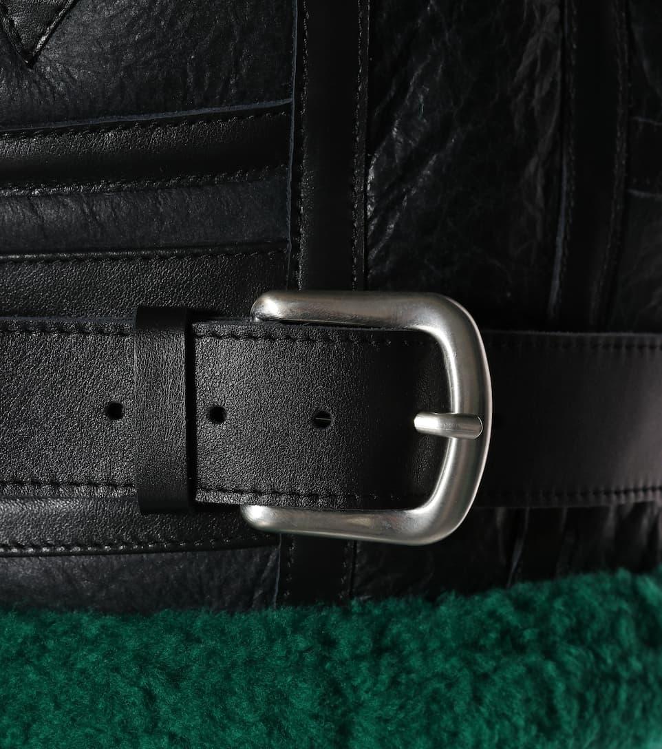 oveja de cuero Balenciaga chaqueta forrada Emeraude de Noir de piel RxBnIwO0q