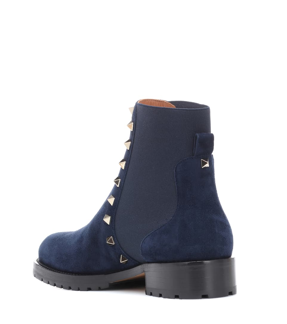 Valentino Valentino Garavani Rockstud Ankle Boots Aus Veloursleder